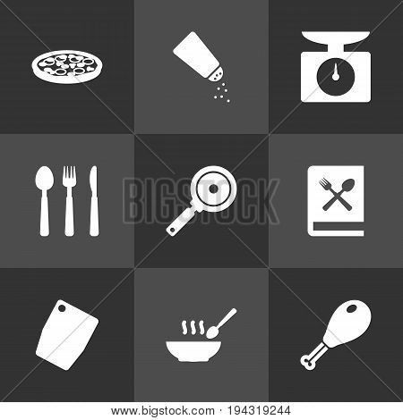 Set Of 9 Culinary Icons Set.Collection Of Weighing Machine, Saltshaker, Cutting Surface And Other Elements.
