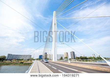 View on the modern bridge with beautiful sky in Nantes city in France