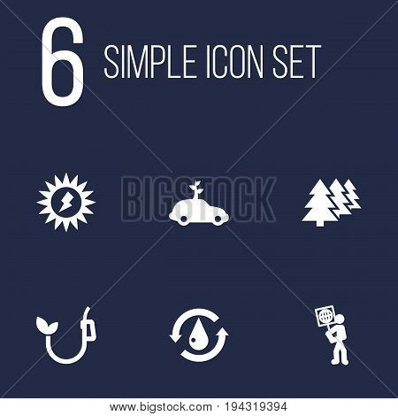 Set Of 6 Bio Icons Set.Collection Of Eco, Reforestation, Energy And Other Elements.