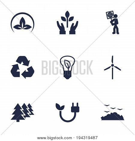 Set Of 9 Atmosphere Icons Set.Collection Of Fan, Protection, Rubbish And Other Elements.