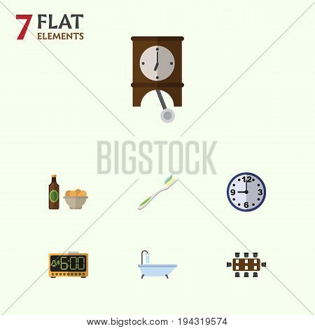 Flat Icon Oneday Set Of Beer With Chips, Watch, Tub And Other Vector Objects. Also Includes Chips, Alarm, Shower Elements.