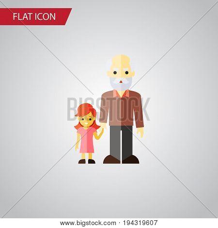 Isolated Grandchild Flat Icon. Grandpa Vector Element Can Be Used For Family, Grandpa, Grandchild Design Concept.