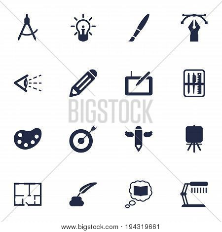 Set Of 16 Constructive Icons Set.Collection Of Look, Scheme, Writing And Other Elements.