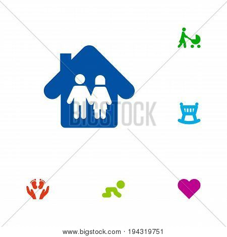 Set Of 6 People Icons Set.Collection Of Perambulator, Heart, Look After And Other Elements.