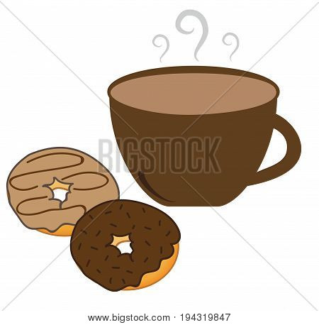 Hot Coffee Cup and Yummy Chocolate Donuts