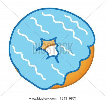 Yummy Blue Frosted Donut with White Swirl Frosting