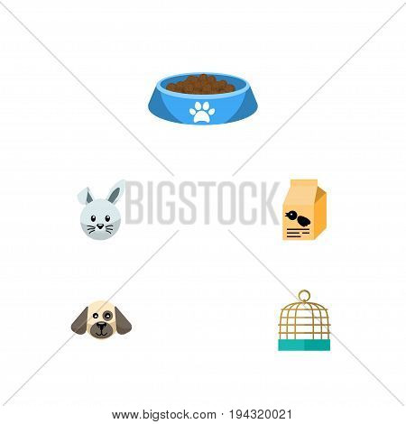 Flat Icon Pets Set Of Nutrition Box, Bunny, Cat  Eating And Other Vector Objects. Also Includes Bowl, Box, Birdcage Elements.