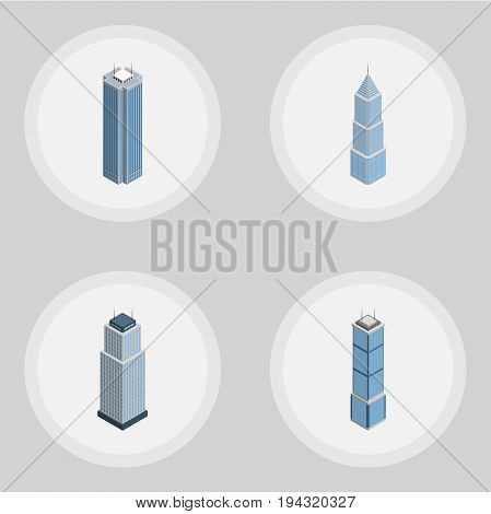 Isometric Construction Set Of Exterior, Tower, Apartment And Other Vector Objects. Also Includes Apartment, Tower, Exterior Elements.