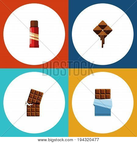 Flat Icon Sweet Set Of Sweet, Delicious, Bitter And Other Vector Objects. Also Includes Dessert, Sweet, Delicious Elements.