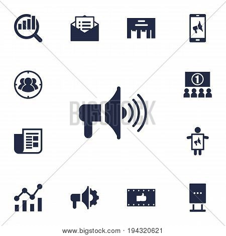 Set Of 13 Trade Icons Set.Collection Of Message, Bullhorn, Billboard And Other Elements.