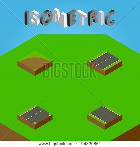 Isometric Way Set Of Without Strip , Driveway, Sand Vector Objects. Also Includes Sand, Road, Strip Elements.