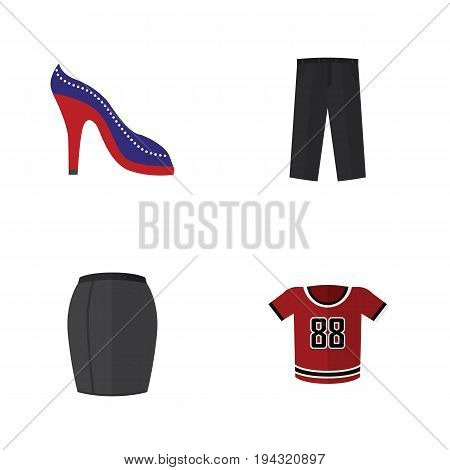 Flat Icon Dress Set Of Pants, T-Shirt, Stylish Apparel And Other Vector Objects. Also Includes Skirt, Sandal, Apparel Elements.