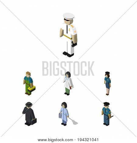Isometric Person Set Of Housemaid, Doctor, Officer And Other Vector Objects. Also Includes Policeman, Sailor, Officer Elements.