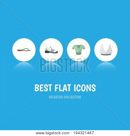 Flat Icon Clothes Set Of Beach Sandal, Brasserie, Sneakers Vector Objects. Also Includes Sport, Flip, Clothes Elements.