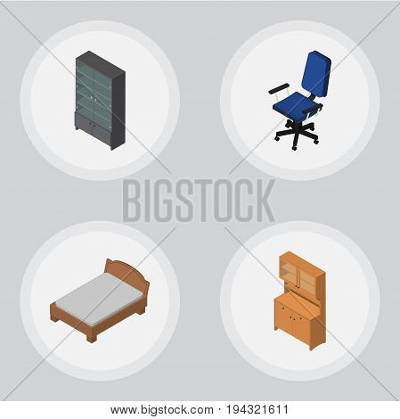 Isometric Furniture Set Of Bedstead, Cupboard, Sideboard And Other Vector Objects. Also Includes Sideboard, Bedstead, Wardrobe Elements.