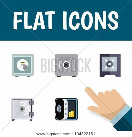 Flat Icon Safe Set Of Security, Protection, Locked And Other Vector Objects. Also Includes Strongbox, Locked, Saving Elements.