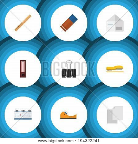 Flat Icon Tool Set Of Duct, Date Block, Dossier And Other Vector Objects. Also Includes Blank, Eraser, Dossier Elements.