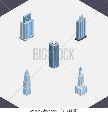 Isometric Skyscraper Set Of Skyscraper, Urban, Cityscape And Other Vector Objects. Also Includes Business, Skyscraper, Exterior Elements.