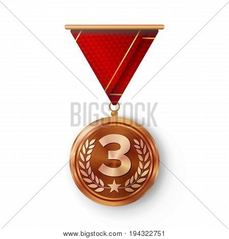 Bronze Medal Vector. Metal Realistic Third Placement Achievement. Round Medal With Red Ribbon, Relief Detail Of Laurel Wreath And Star. Competition Game Bronze Achievement. Winner Trophy