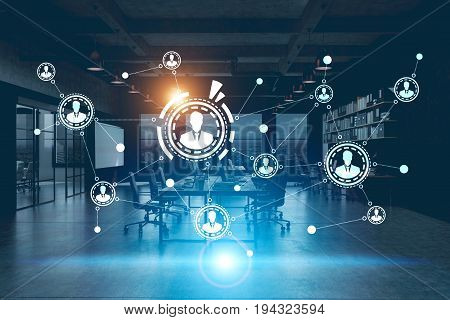 Large network hologram in the air. Dark blue office surrounding. Futuristic background. Toned image double exposure mock up