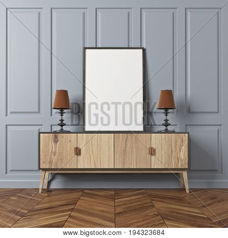 Empty room interior with gray rectangular pattern walls and a dark wooden floor. There is a wooden closet with a framed vertical poster on it. 3d rendering mock up