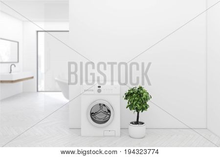White bathroom interior with a washing machine white wooden floor a tree in a pot a sink and a tub. Panoramic window. Close up. 3d rendering mock up