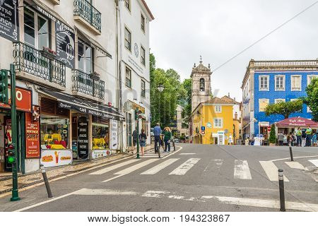 SINTRA,PORTUGAL - MAY 17,2017 -In the streets of Sintra in Portugal. Sintra is known for its many 19th-century Romantic architectural monuments.