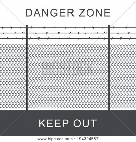 Danger zone with rabitz grid metal fence and barbed wire.