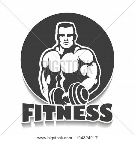 Fitness Club or Gym Emblem. Athletic Man with dumbbells. Athletic Sport creative concept. Bodybuilder Sign Symbol badge.