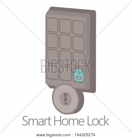 Smart home lock icon. Cartoon illustration of smart home lock vector icon for web isolated on white background