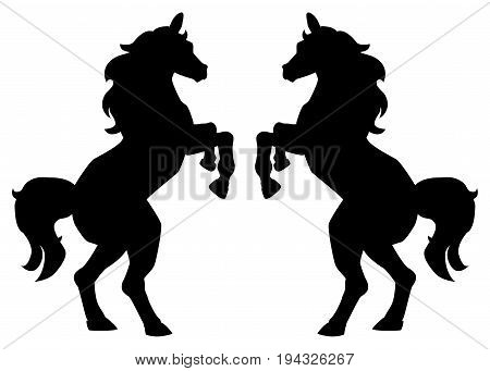 rearing up horse fine silhouette and outline - graceful black stallions isolated on white