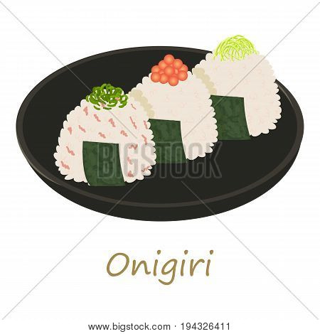 Onigiri icon. Cartoon illustration of onigiri vector icon for web isolated on white background