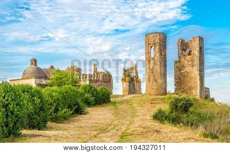 View at the ruins of Castle Montemor-o-Novo in Portugal