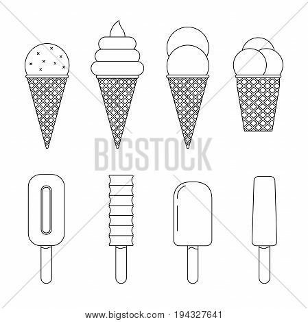 Ice cream line icons set. Vector thin illustrations of Ice cream with waffle cone and ice lolly.
