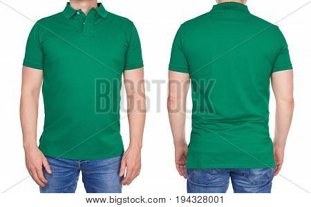 Man In Blank Green Polo Shirt From Front And Rear