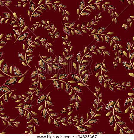 A repeating pattern of small leaves. Prints for cotton fabrics in country style. Hand drawing leaf vector. Golden on vinous.