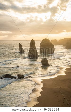 Twelve Apostle the iconic rock formation during the sunset at the Great Ocean Road of Victoria state Australia.