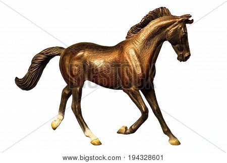 Beautiful collectible figure of a running horse on white background.