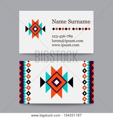 Set of geometric tribal colorful business cards - ethnic style templates - modern - stock vector