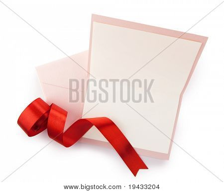 Pink card and envelope and red ribbon, isolated on white.