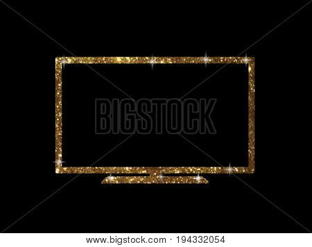 The vector golden glitter of isolated OLED black flat smart wide TV on black background