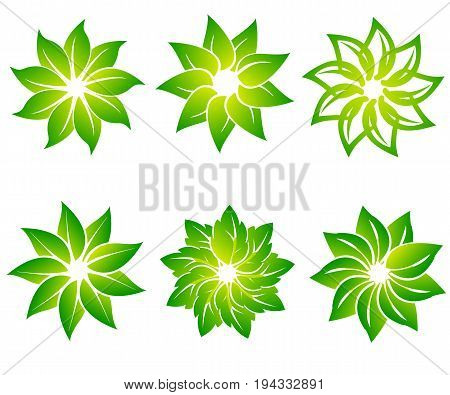 Vector set of abstract green logo design templates - emblems for holistic medicine centers, yoga classes, natural and organic food products and packaging - circles made with leaves and flowers.