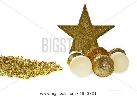 Christmas Decorations In Gold Tones