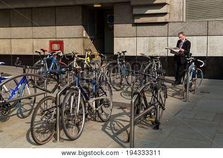 UK London - April 08 2015: Group of bikes in parking in London