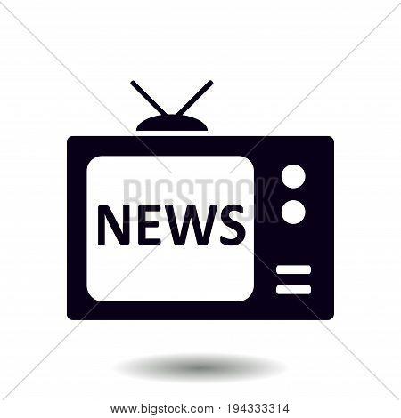 News reporter on tv. Flat design style. Mass media symbol.