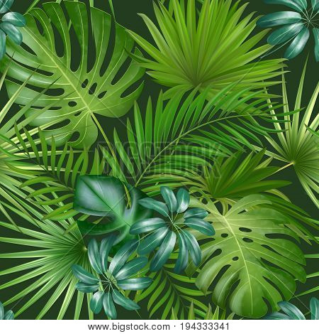 Seamless tropical pattern with palm leaves for fabric design or other uses. Endless exotic background. Realistic exotic leaf.