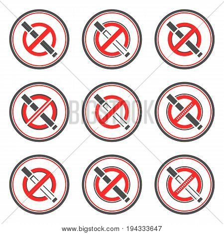 Set of abstract no smoking vector signs.