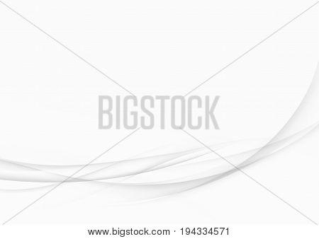 Minimalistic halftone greyscale lines layout. Grey elegant speed swoosh satin waves over white background. Vector illustration