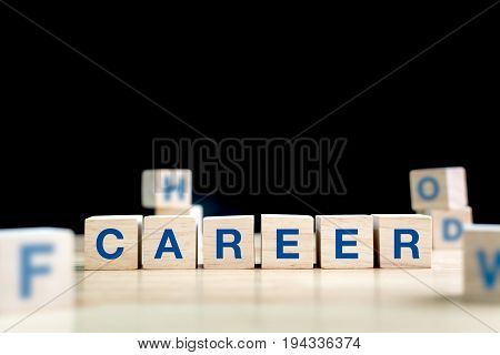 Wood cube and word career on wooden table with black background