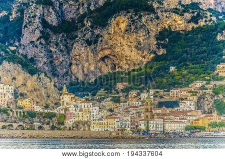 View from the sea of an Italian village on the Amalfi Coast Positano.